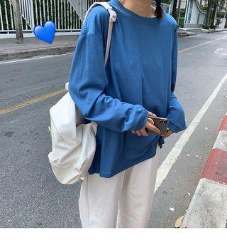 藍色長袖t恤 輕薄寬鬆防曬透氣上衣