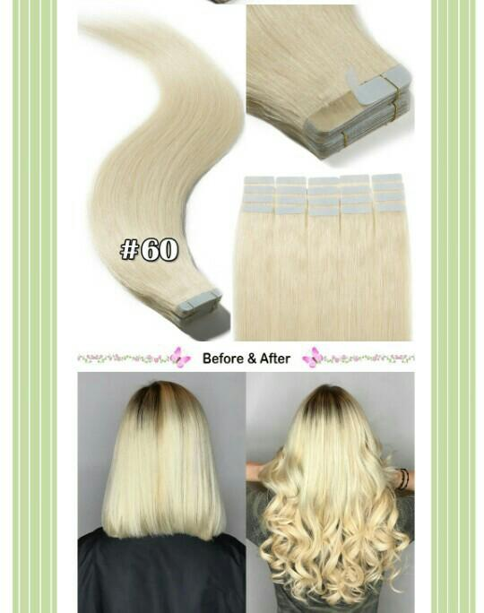 "14"" remy tape hair extensions 50g platinum blonde"