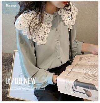 氣質蕾絲娃娃領雪紡襯衫(M~4XL)