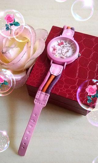 Mini牌立體粉紅兔雕花手錶