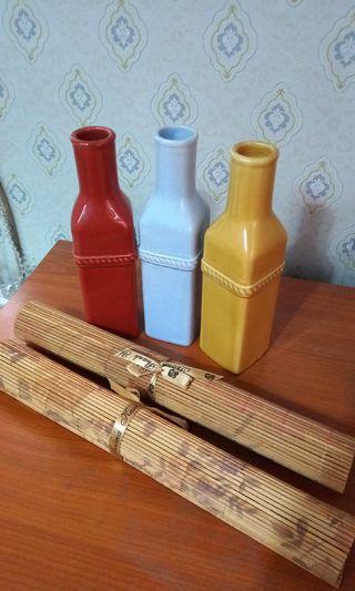 Japanese Sake Bottle & Bamboo Sushi Mat