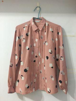 粉色印花古著長袖襯衫