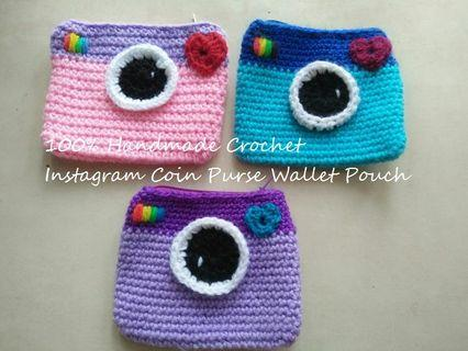 100% Handmade Crochet Little Camera Coin Purse Wallet Pouch