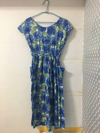 美式藍色大花朵棉質古著洋裝
