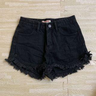 黑色 牛仔 短褲