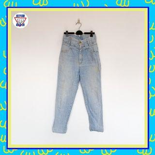 二手 藍色 男人味 丹寧 牛仔 高腰 長褲 前列腺超音波 801007