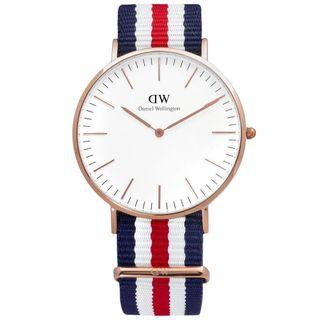 DW-Daniel Wellington Classic Canterbury經典美國旗幟尼龍腕錶 40mm 藍白x紅