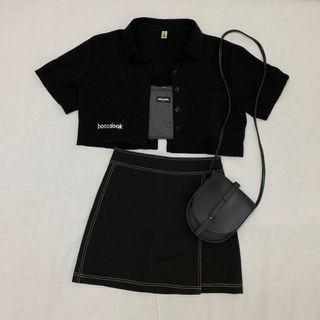 黑色車線A字裙