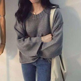 韓版寬袖針織衫 灰色