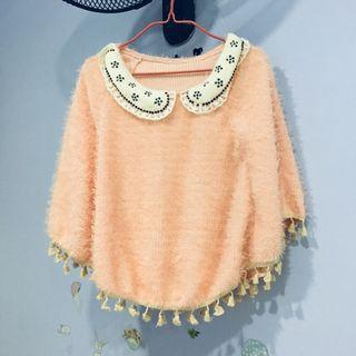 Sweet pink furry capelet