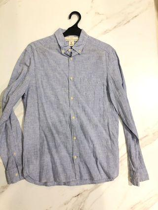 H&M linen shirt blue color size small