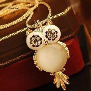 Kalung panjang white owl