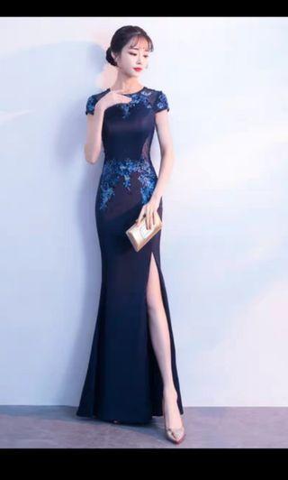 NEW navy blue mermaid Evening Dress prom dinner gown M