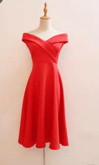 NEW plus size Off Shoulder Red Dress dinner prom midi