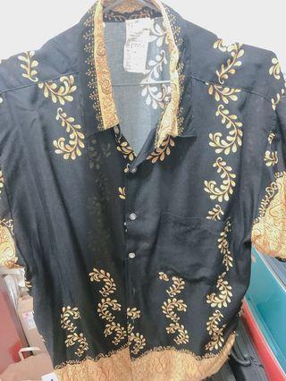 黑金東南亞薄衫 偏長版 M號