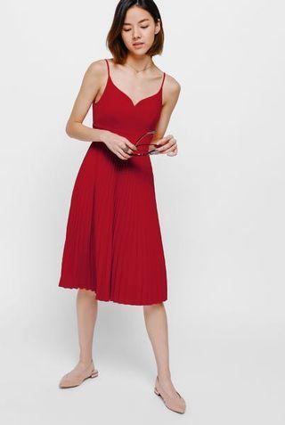 Aldis pleated midi dress