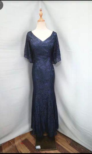 NEW mermaid navy blue lace evening gown dinner dress prom L