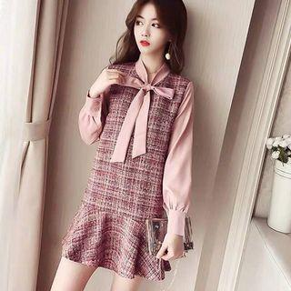 《出清》秋裝新款繫帶襯衫假兩件粗花呢連衣裙蝴蝶結長袖荷葉邊裙