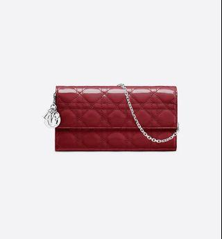 Authentic Lady Dior Croisiere Wallet in Red Patent Cannage Calfskin