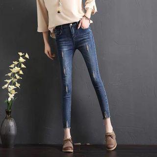 《出清》新款秋裝破洞牛仔褲女顯瘦九分褲緊身八分小腳褲子