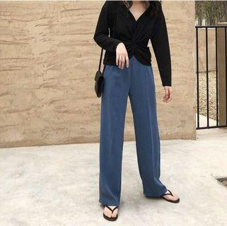 全新🔺顯瘦 鬆緊褲頭寬褲直筒褲-L