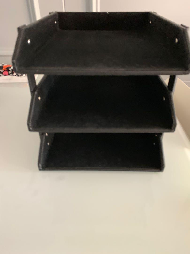 3-tier leather documents tray