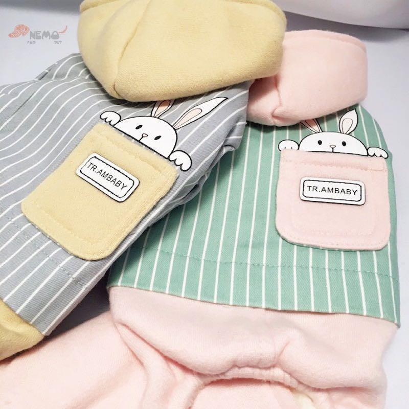 貓狗衣服【可愛小兔四腳衣(粉)】中小型犬 保暖 舒適