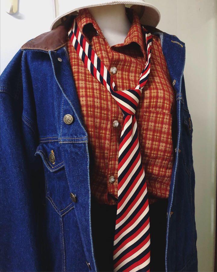 古著 復古 領帶 襯衫 洋裝搭配