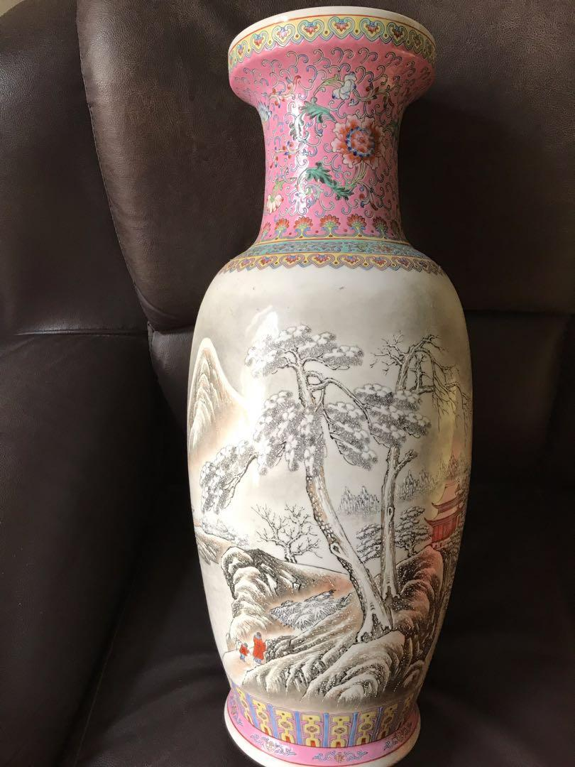 An unusual large boat figural snow view vase QIANLONG seal mark