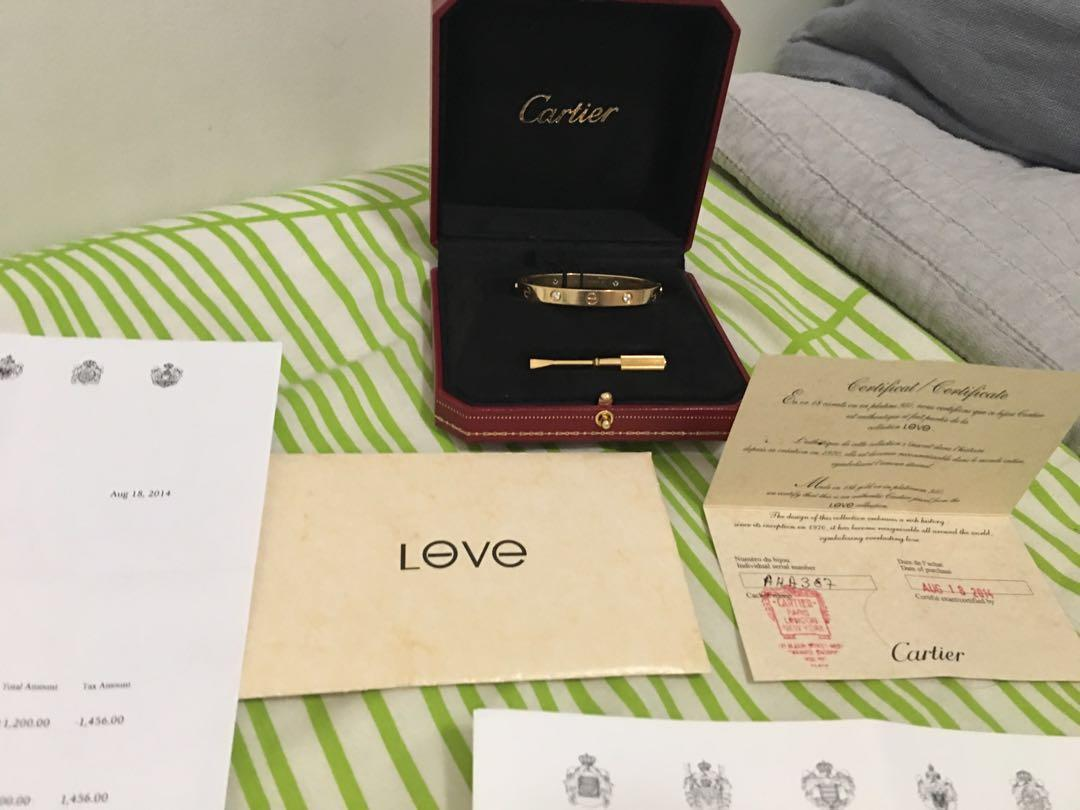 Authentic Cartier Love Bracelet with 4 Diamonds Size 16 New screw System
