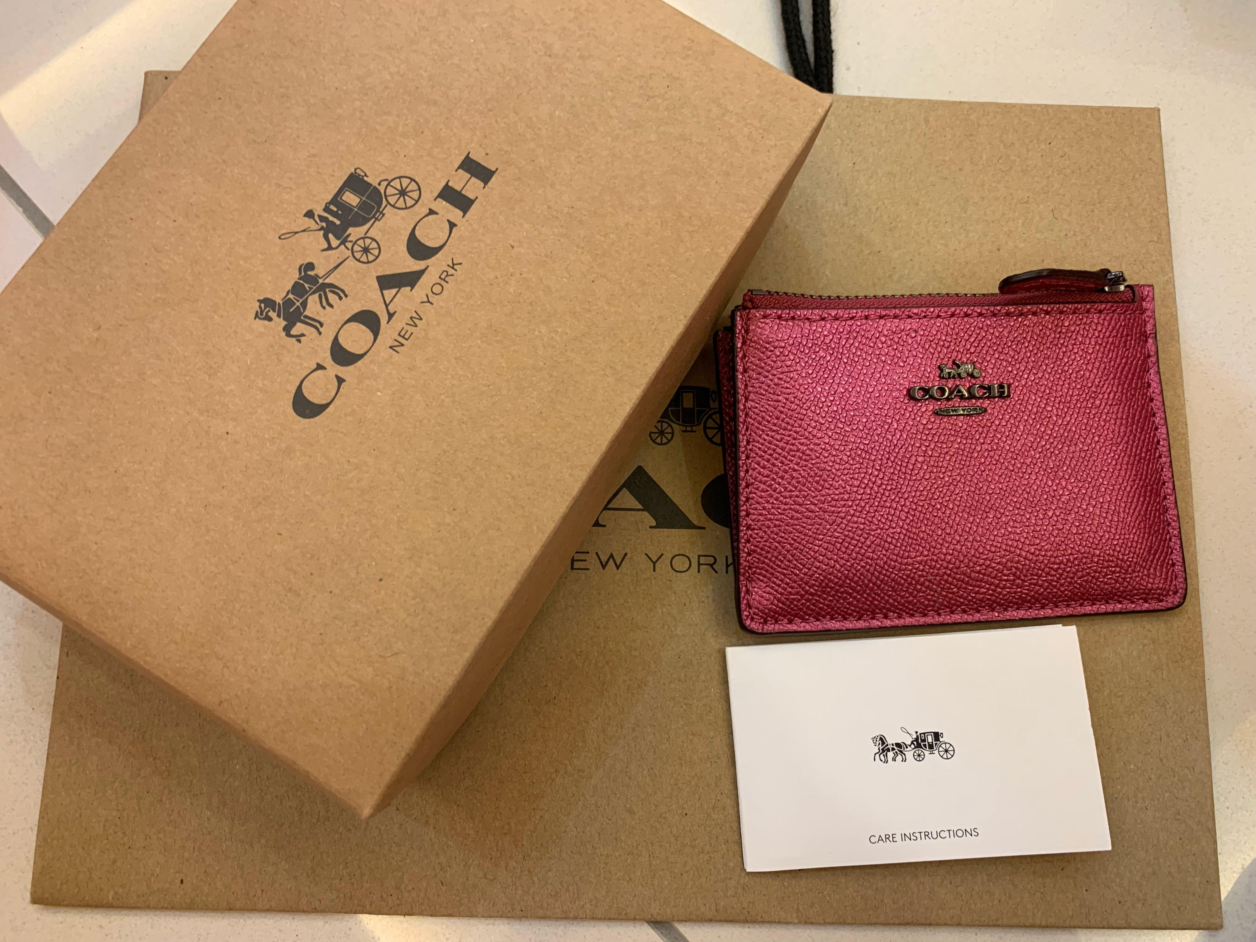 Authentic coach ready stock 21072 lanyard small purse card holder