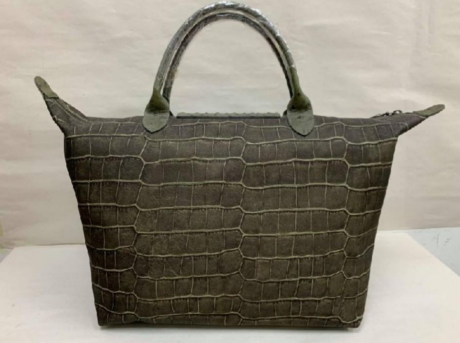 AUTHENTIC LONGCHAMP CROC LE PLIAGE TOTE BAG - MEDIUM- PLASTIC HANDLE SEALS INTACT - (RETAILS AROUND RM 1000+)
