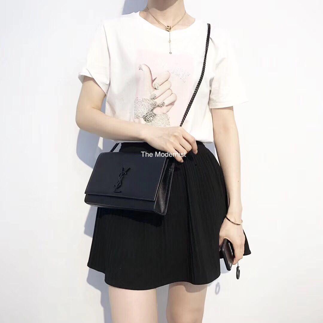 Authentic Pre-loved YSL Saint Laurent Kate Medium So Black Leather Shoulder Bag