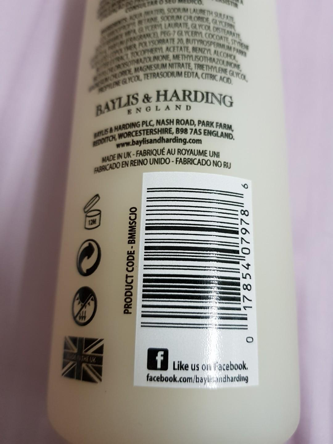 Baylis & Harding England shower cream body soap 500ml