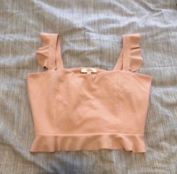 blush pink ruffle sleeves crop top
