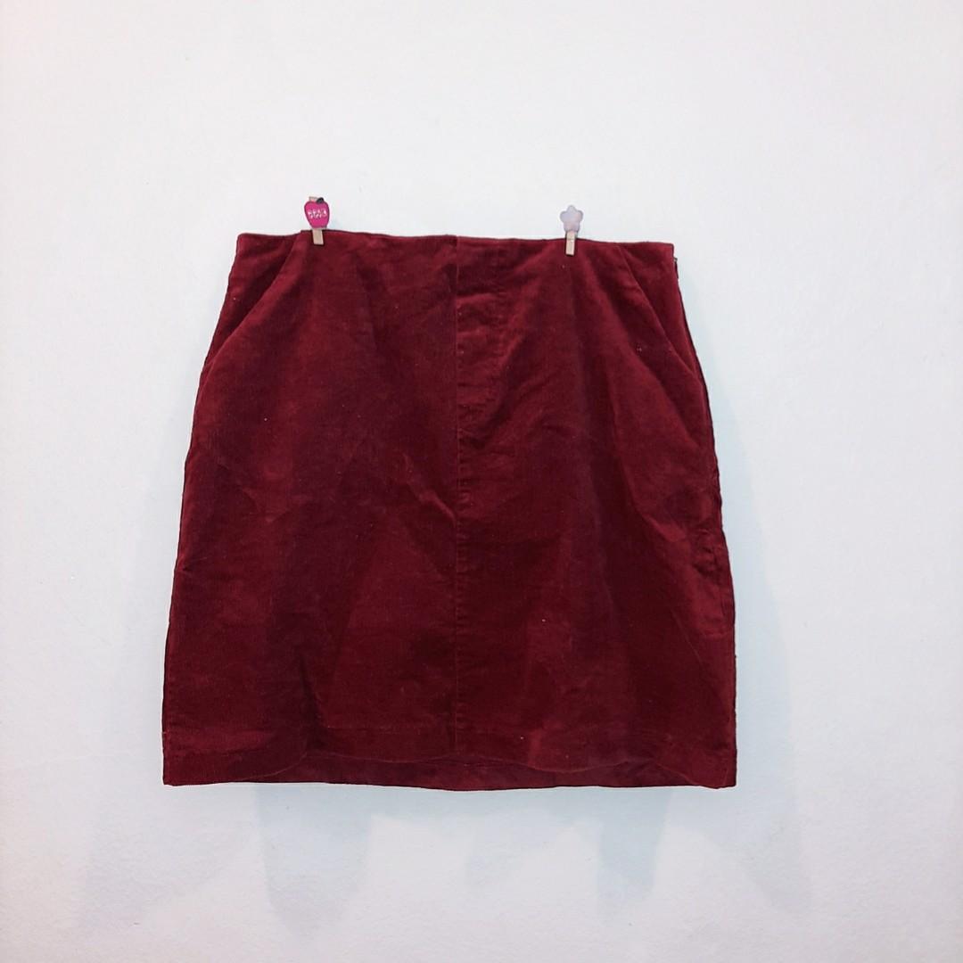 Brick red denim skirt