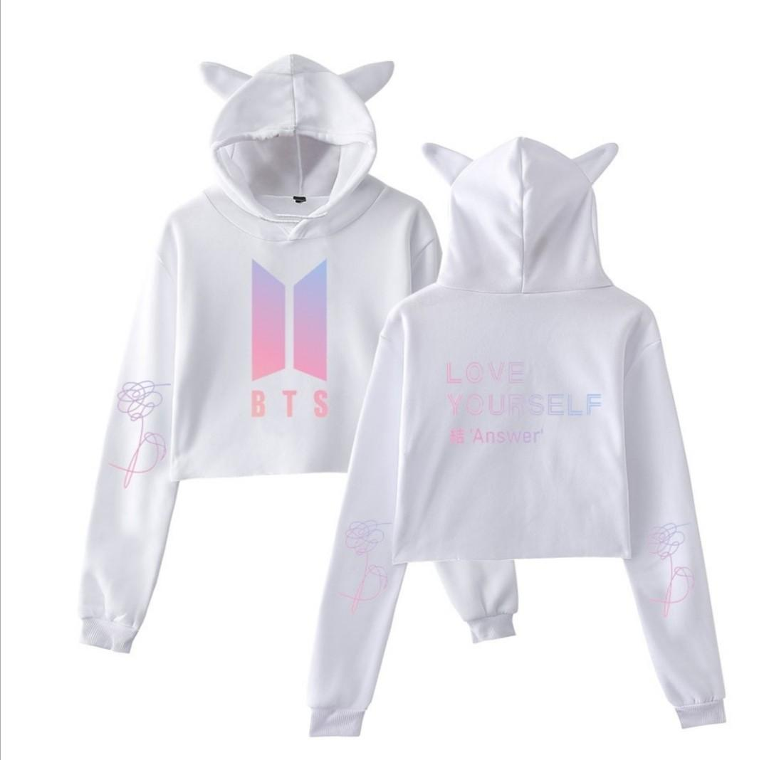 BTS Love Yourself Printed Cat Cropped Hoodies Women Long Sleeve