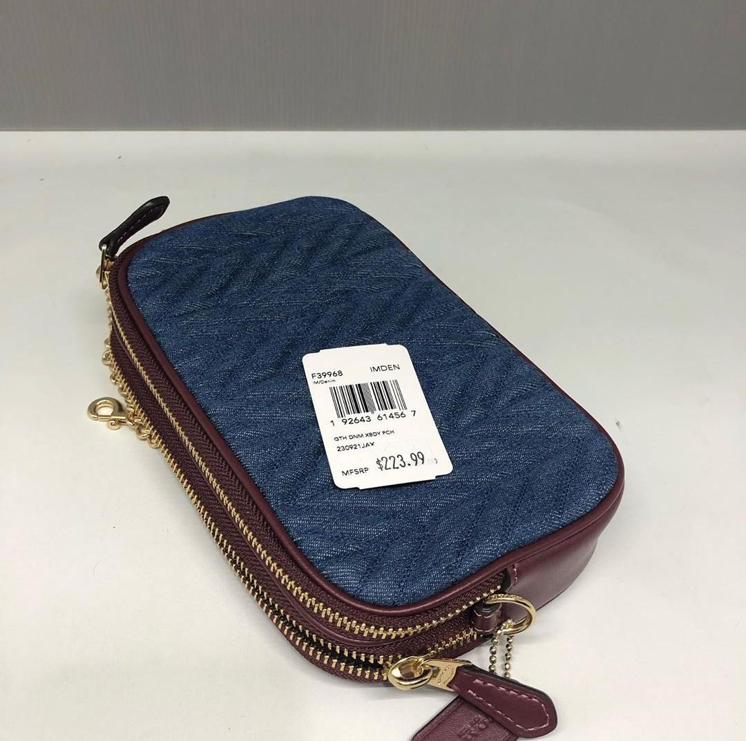Coach Double Zip Crossbody Pouch With Quilting 19×12×3 in denim