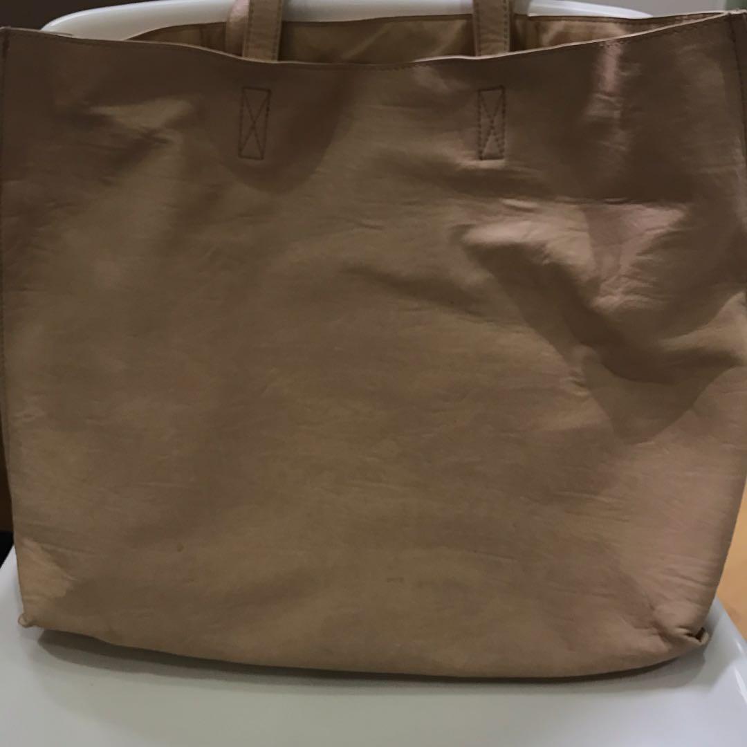 Colette nude-brown laptop bag - removable pouch inside