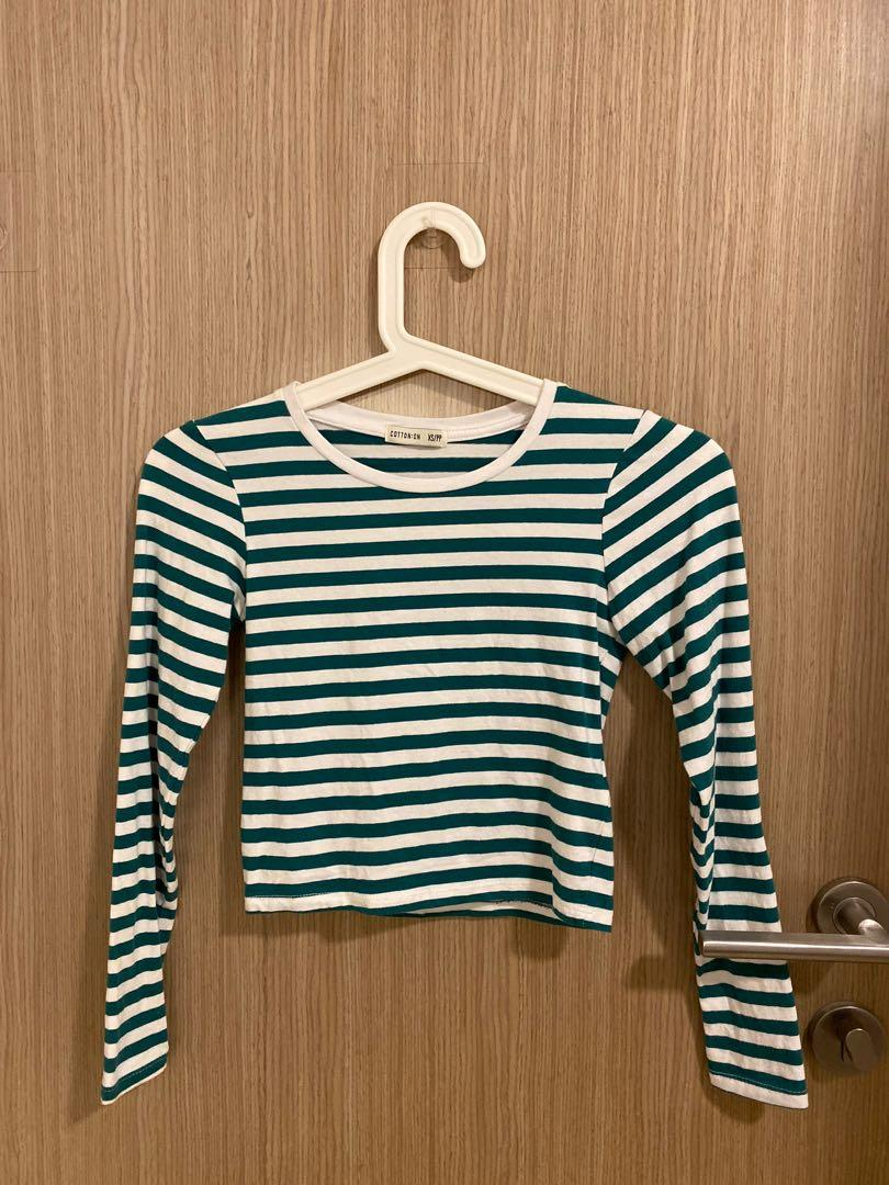 cotton on green and white striped crop top