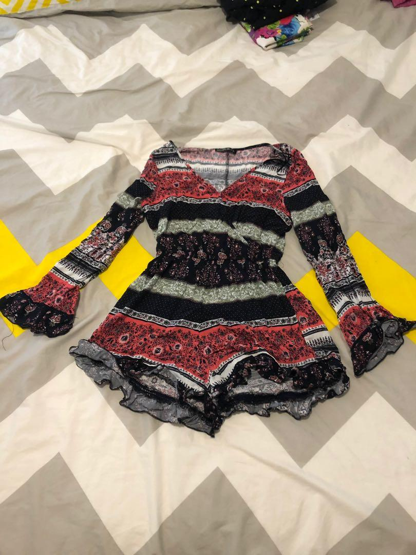Cotton on paisley long sleeve jumpsuit romper size small