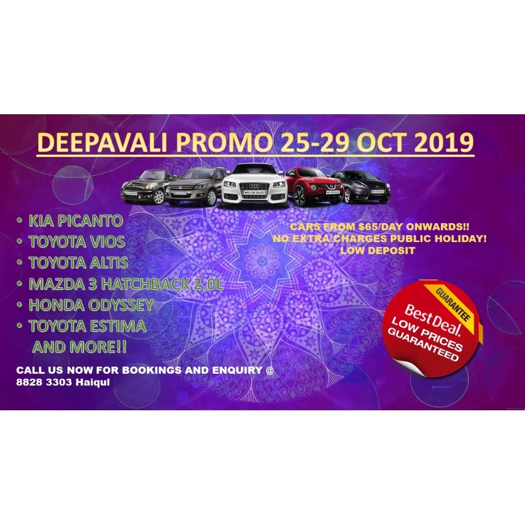 Deepavali promo 25/10 - 29/10 rental
