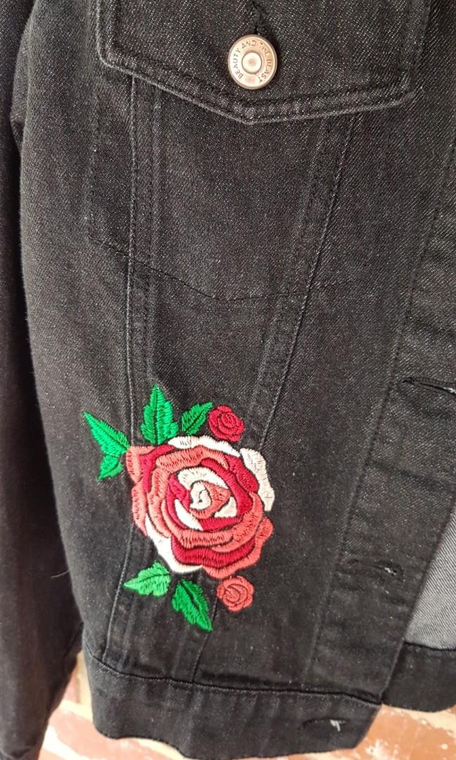 Disney Beauty And The Beast Rose Embroidered Black Denim Jacket