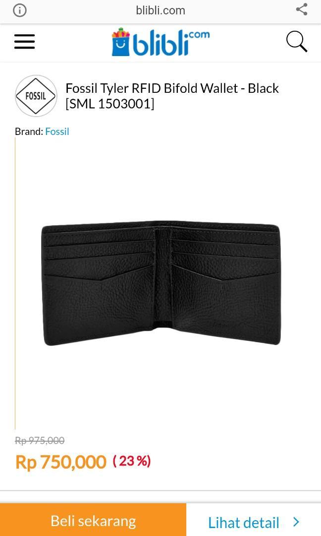 Dompet Fossil Tyler RFID Bifold Wallet - Hitam / Black [SML 1503001]