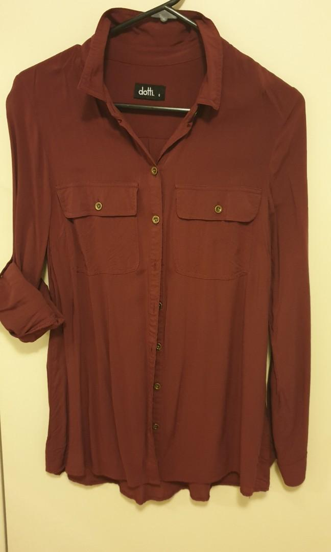 Dotti Ladies Maroon Long Sleeves Shirt, Size 6. Worn only once.