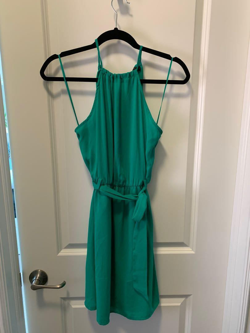 Dynamite Green Halter Fit and Flare Dress with Sash