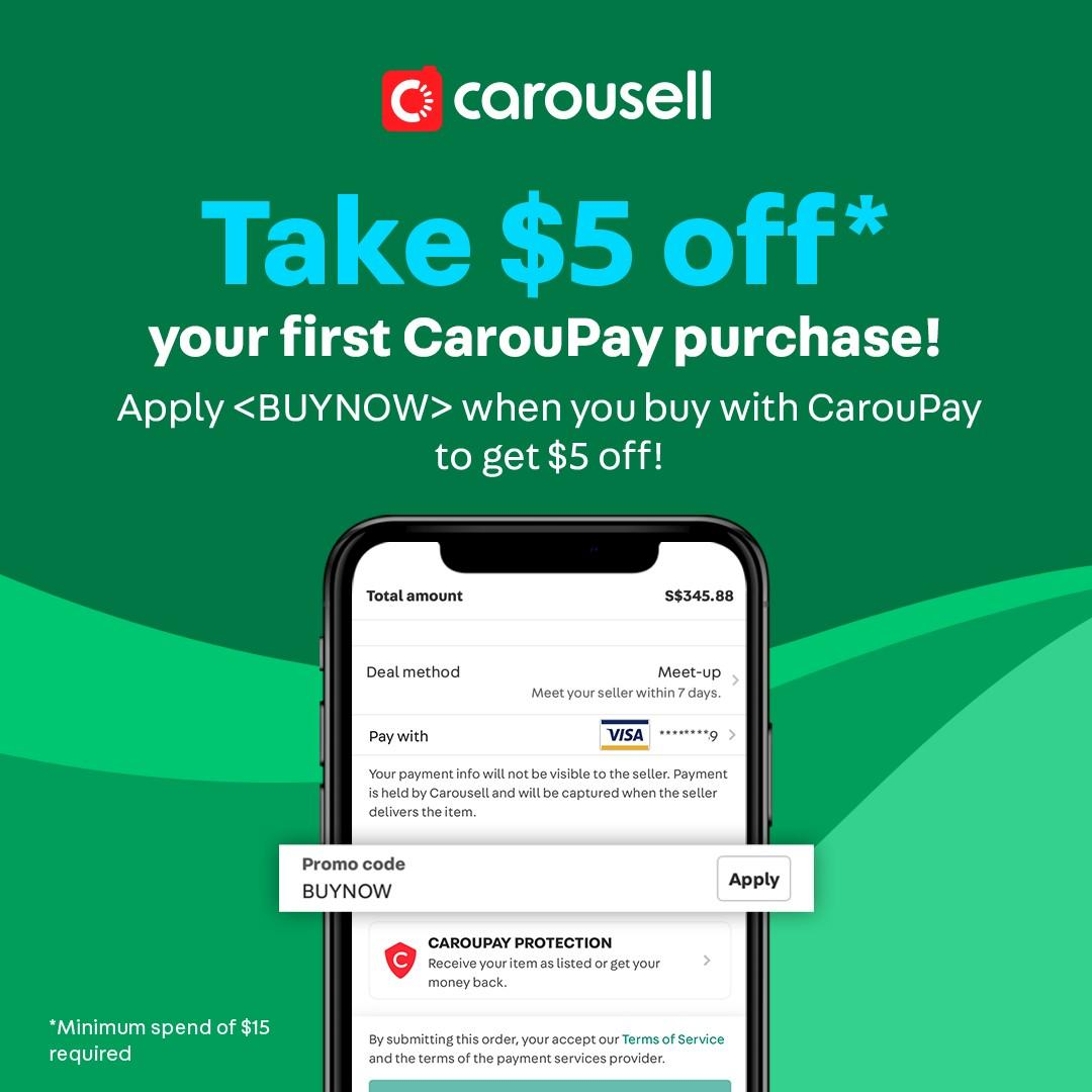 Enter <BUYNOW> to get $5 off your first CarouPay purchase!