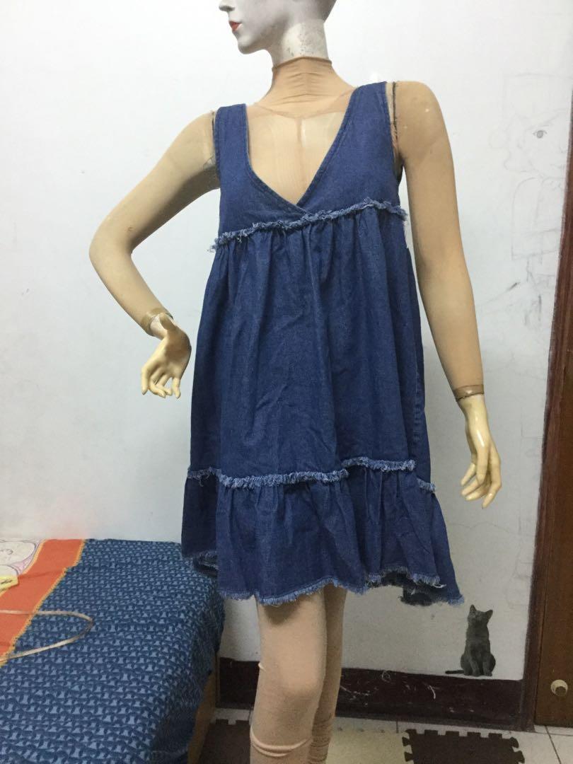 韓製品牌F號藍色背心牛仔裙