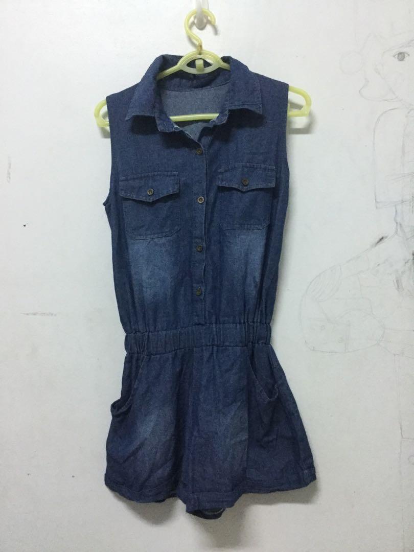 全新F號 藍色牛仔布無袖連身褲裝