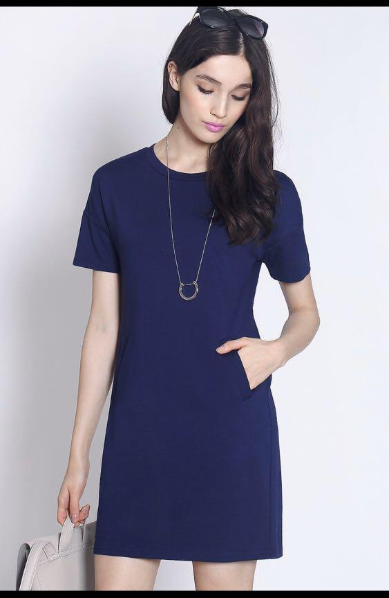 Fayth Carter Dress in Navy - Size XS